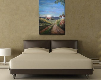 "Large Tuscan Vineyard Painting on Canvas 30"" by 40""- One of a Kind"