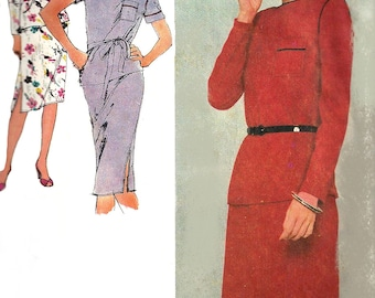1980s Skirt Pattern Top Simplicity 2 Piece Dress Vintage Sewing Women's Misses Size 10 Bust 32. 5 Inches