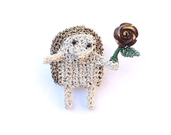Hedgehog holding a rose brooch - flower brooch, mother of pearl brooch, animal brooch, woodland animal jewelry, forest animal pin