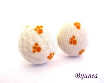 Footprint earrings - Orange footprint paws stud earrings- Footprint post earrings - Orange paws footprint posts sf1246
