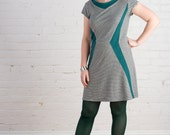 SALE -- Large or X-Large Starship Dress with Hand Dyed trim -- Eco fashion, Comfy Organic cotton and Hemp Dress