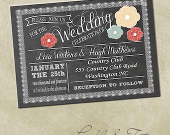 Printable-PDF- Wedding Chalkboard Invitation- 5x7