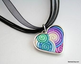 Silver Heart Pendant in Pastel Blue, Pink, Purple Fimo Filigree Valentine's Day Gift