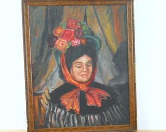 Vintage Oil on Canvas Panel • Woman Portrait • Ingrid Draper Painting • Framed