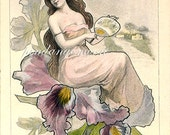 Pretty Girl Woman Orchid French Post Card Image Ephemera Vintage Scrapbook Instant Digital Download