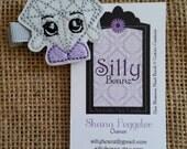 Shopkins Gemma Stone glittery crystal diamond embroidered felt hair clip
