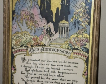 Vintage 1929 Buckbee Brehm Co OUR ANNIVERSARY Sentimental Poem Framed Print Picture