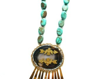 Statement Necklace. Thunderbird & Arrow. Agate and Turquoise Jewelry