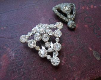 pair of dress clips silver art deco rhinestone jewelry - repair lot - costume jewelry 1940s