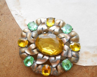 yellow and green rhinestone flower brooch - copper colored metal and stones - wear or repurpose