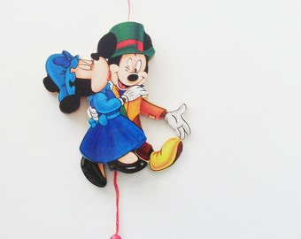 Vintage Mickey and Minnie Ornament / 1980s Vintage Disney Wood Ornament / Animated Mickey & Minnie Mouse Ornament / Gift Under 20