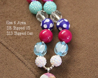 SALE 25% off! Elsa Anna Frozen Chunky Bubblegum Necklace RTS
