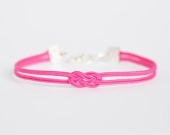 Bright pink delicate minimal petite double infinity knot soutache braid rope bracelet