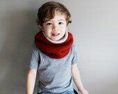 toddler reversible knit cowl in BRICK - vegan friendly - unisex cowl - 2T/3T/4T