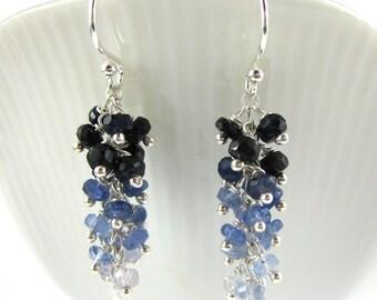 Sapphire Earrings - Sapphire Cluster Earrings - Blue Sapphire Earrings - Ombre Earrings