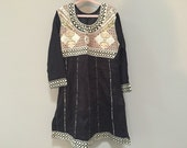 Girls Indian Dress, Black & Gold Embroidered Tunic Dress, Long Sleeve Dress, Girls Dress, Detailed Bib Striped Long Dress Side Slits India S