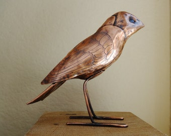 Copper Bird Sculpture Finch OOAK Hammered Engraved