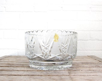 Vintage Imperlux Hand Cut Lead Crystal Bowl - World's Finest German Glass Fruit Bowl - Germany Scalloped Edge Wedding Gift