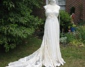 Hippie Lace Collage Wedding Gown with train and beaded neckline made to order