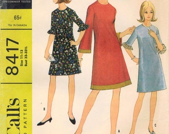 1960s McCall's 8417 Vintage Sewing Pattern Junior Petite Dress Size 11 - 13 Bust 33 - 33-1/2