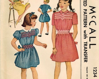 1940s McCall 1234 Vintage Sewing Pattern Girls Smocked Dress Size 6