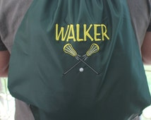 Sports Cinch Sack Personalized Back Pack Baseball, Basketball, Lacrosse, Hockey, Soccer Custom Embroidered Christmas Gift