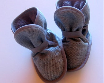 Awesome Booties - All Grey - Cozy Denim, Fleece & Ultrasuede Booties - boots, soft