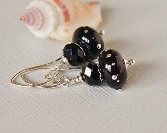 Black Earrings, Lampwork Beaded Earrings, Sterling Silver, Swarovski Crystal - DARK SKIES