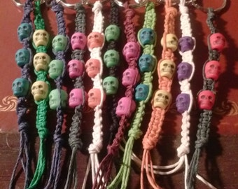 SKULL beads on macrame hemp keyring - choose colors!