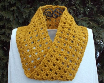 Mustard Yellow Infinity Scarf, Womens Cowl, Circle Scarf, Ladies Neck Warmer, Mobius Scarf, Spring Fashion Scarf