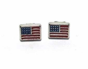 American Flag Earrings, USA Flag Jewelry, 4th of July Mini Stud Earrings, Patriotic Jewelry
