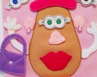 Quiet book page Mrs Potato head educational game learning toy busy bags and quiet books Eco-Friendly felt quiet book page #QB111