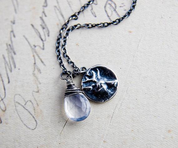 Stag Necklace, Stag Pendant, Deer Necklace, Deer Pendant, Crystal Necklace, Crystal Jewelry, Nature Jewelry, Sterling Silver, PoleStar