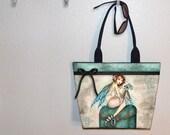 Keeping Secrets, Fairy Elf Girl Large tote bag, book bag, book tote, large purse, canvas tote, shoulder bag, gym bag, beach tote