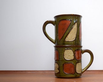 Stoneware Coffee Mugs, Textured Earthtones, Green Rust and Cream, Coordinating Coffee Cups