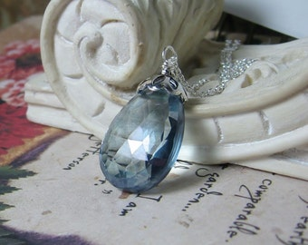 Gemstone Necklace 33Ctw Slate Blue Quartz Sterling Pendant