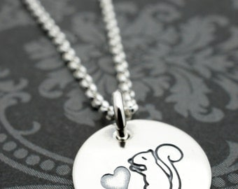 Squirrel Jewelry - Woodland Love Squirrel Necklace in Sterling Silver - Hand Stamped, Engraved Charm Necklace
