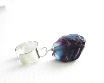 Raw Fluorite Ear Cuff: Rough Stone Cuff Earring, Blue & Purple Dangle Earcuff