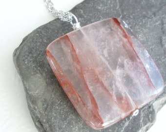 Blush Pink Necklace, Rose Quartz Jewelry, Natural Stone Pendant