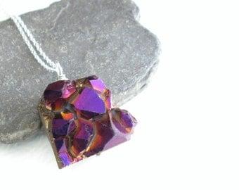 Wine Crystal Drusy Necklace, Sangria Druzy Jewellery, Titanium Quartz Pendant