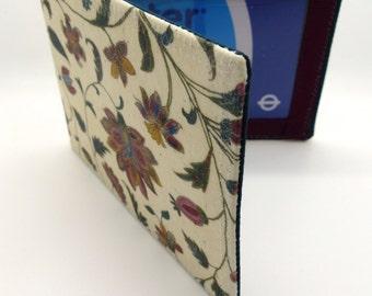 Oyster card holder, bus pass holder, travel card holder, wallet .Tapestry floral design.Card wallet, Oyster card wallet, credit card holder