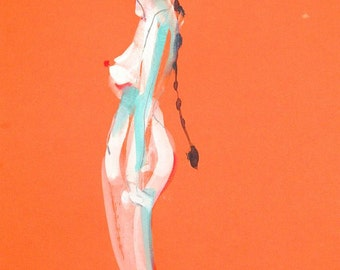 Nude painting of One minute pose 82.7, nude art, original, gesture sketch by Gretchen Kelly
