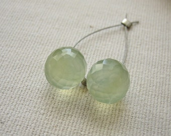 Prehnite Onion Briolette Beads 9mm - Matched Gemstone Pair
