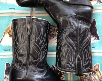 Vintage 1960's black Acme boots The Ace of Spades 60's western boots 9 10 1/2 D ladies 10 11