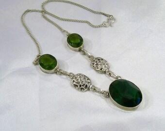 Buy 2 Get 1 Free Green Older Necklace 925 Sterling Silver Overlay Necklace Destash  CC01