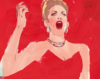 "Joyce DiDonato - Illustration Fine Art Print by Jonny Ruzzo - 13"" x 19"""