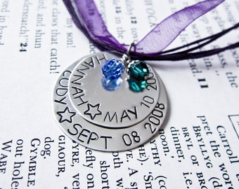 Mommy Necklace - Stamped Stacked Disc Pendant With Swarovski Birthstone Charms - Two Children Kids