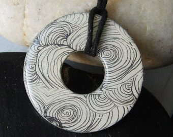 Stunning Black and White Feather Swirl Renaissance Upcycled Origami Papers Hardware Washer Pendant Necklace