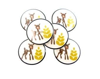 "6 Handmade Resin Deer and Tree Sewing Buttons. 3/4"" or 20 mm Two Hole Craft or Novelty Buttons."