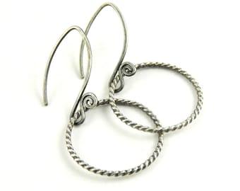 Sterling silver hoop earrings, twist oxidized simple hoops, twisted wire handmade fiddlehead earwires, ready to ship.